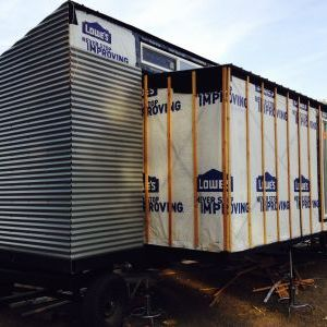 Metal siding on front of trailer
