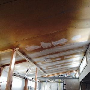 Ceiling panels with vinyl drywall mud