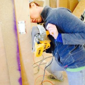 Sanding interior wall panels