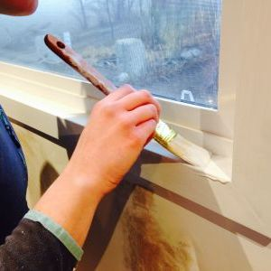 Priming kitchen window trim