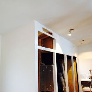 Ceiling and walls by wardrobe closet