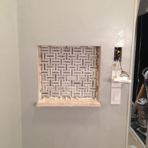 Installing Bathroom Shower Shelf Mosaic Tiles
