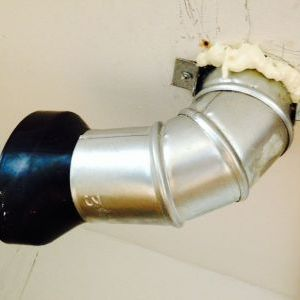 Kitchen ceiling exhaust fan vent elbow