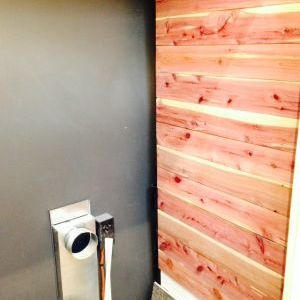 Cedar planks smell great on our washer/dryer wall in bedroom closet