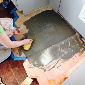 Laying Thinset over Kerdi waterproof underlayment for entry tile