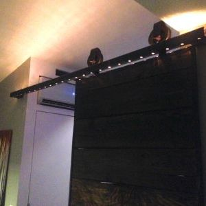 Barn door rope lighting at night