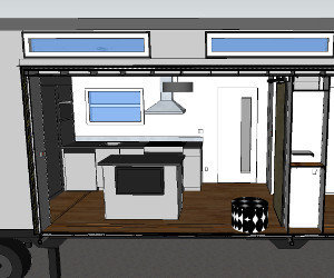 Complete Plans Package: Google Sketchup drawing shows kitchen cabinetry with full-size appliances, moveable island with flat screen TV, and huge hidden pantry