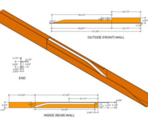 Complete Plans Package: PDF diagram of slideout track box with dimensions