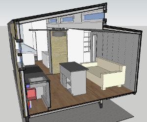 Complete Plans Package: Google Sketchup drawing includes built-in cabinetry, barn door, huge full-open wardrobe closet, and clean modern design
