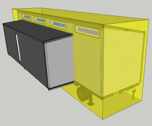 Complete Plans Package: Sketchup drawing includes layer to making sure the trailer fits within legal limits