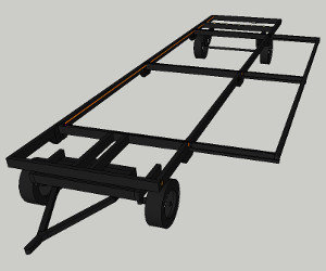 Complete Plans Package: Google Sketchup drawing of slideout mechanism shows the parts and dimensions required for the trailer and slideout mechanism