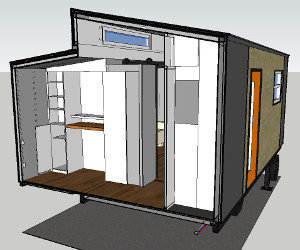 Complete Plans Package: Google Sketchup drawing has built-in bedroom shelving, standing home office, coat closet, huge wardrobe closet, and lots of natural light